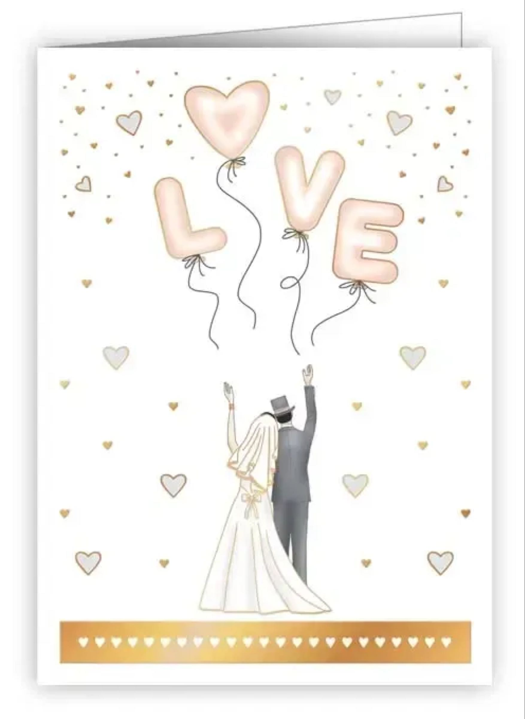 Bridal Couple with Love Balloons mini card