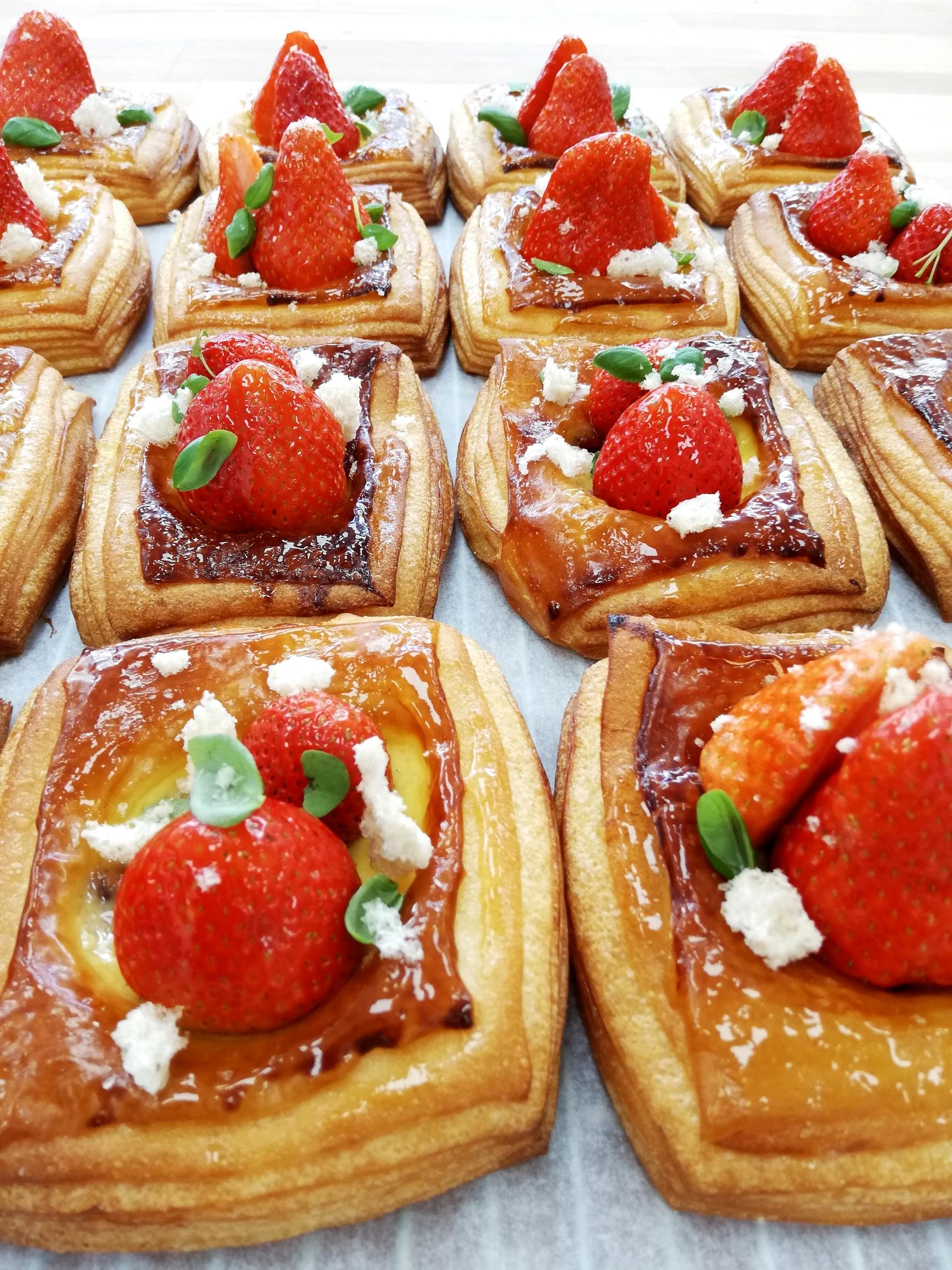 Strawberry, Basil, Balsamic Vinegar Danish