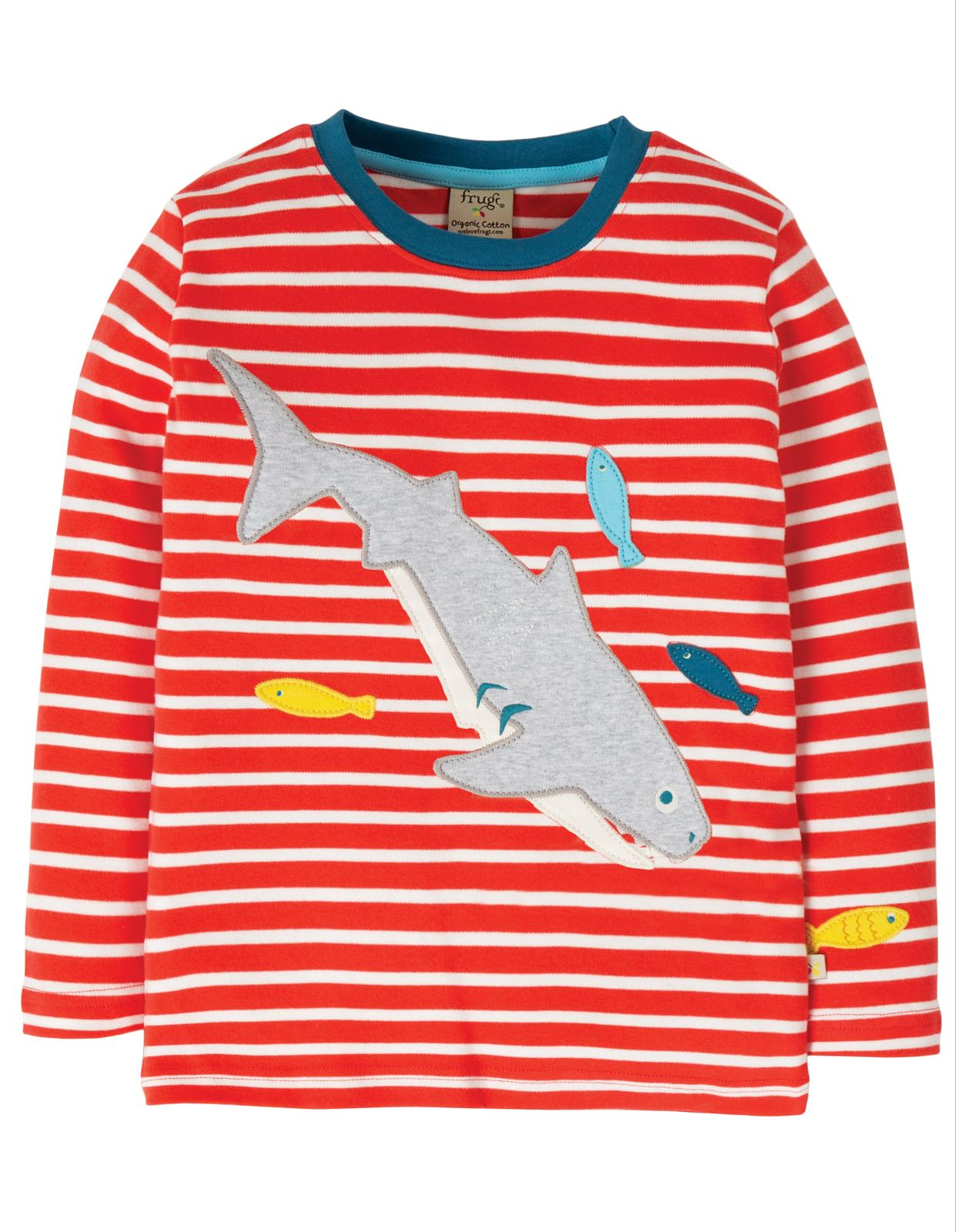 Frugi Discovery Appliqué Top, Koi Red Stripe/Shark