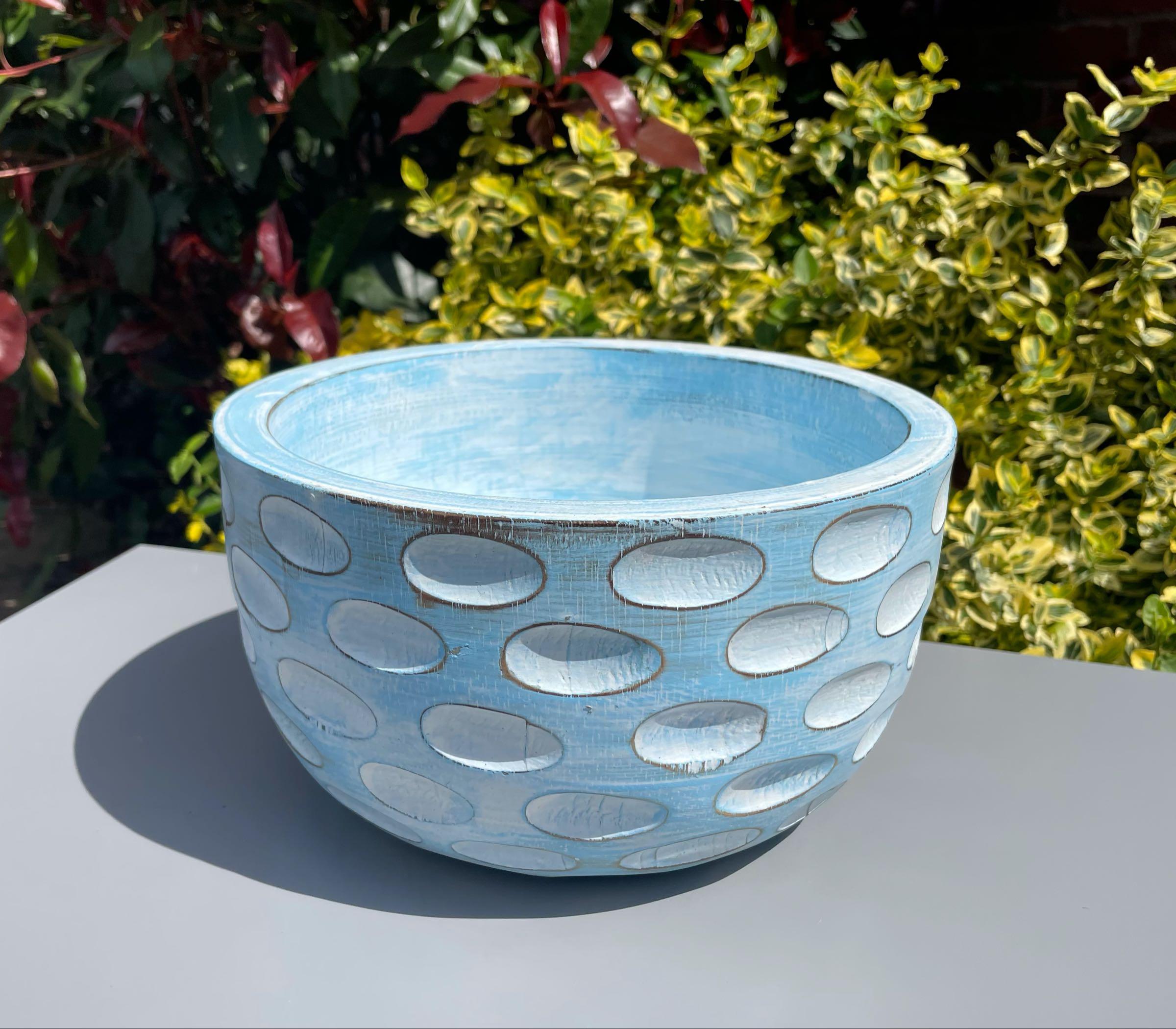 Pastel blue hand carved bowl 25cm