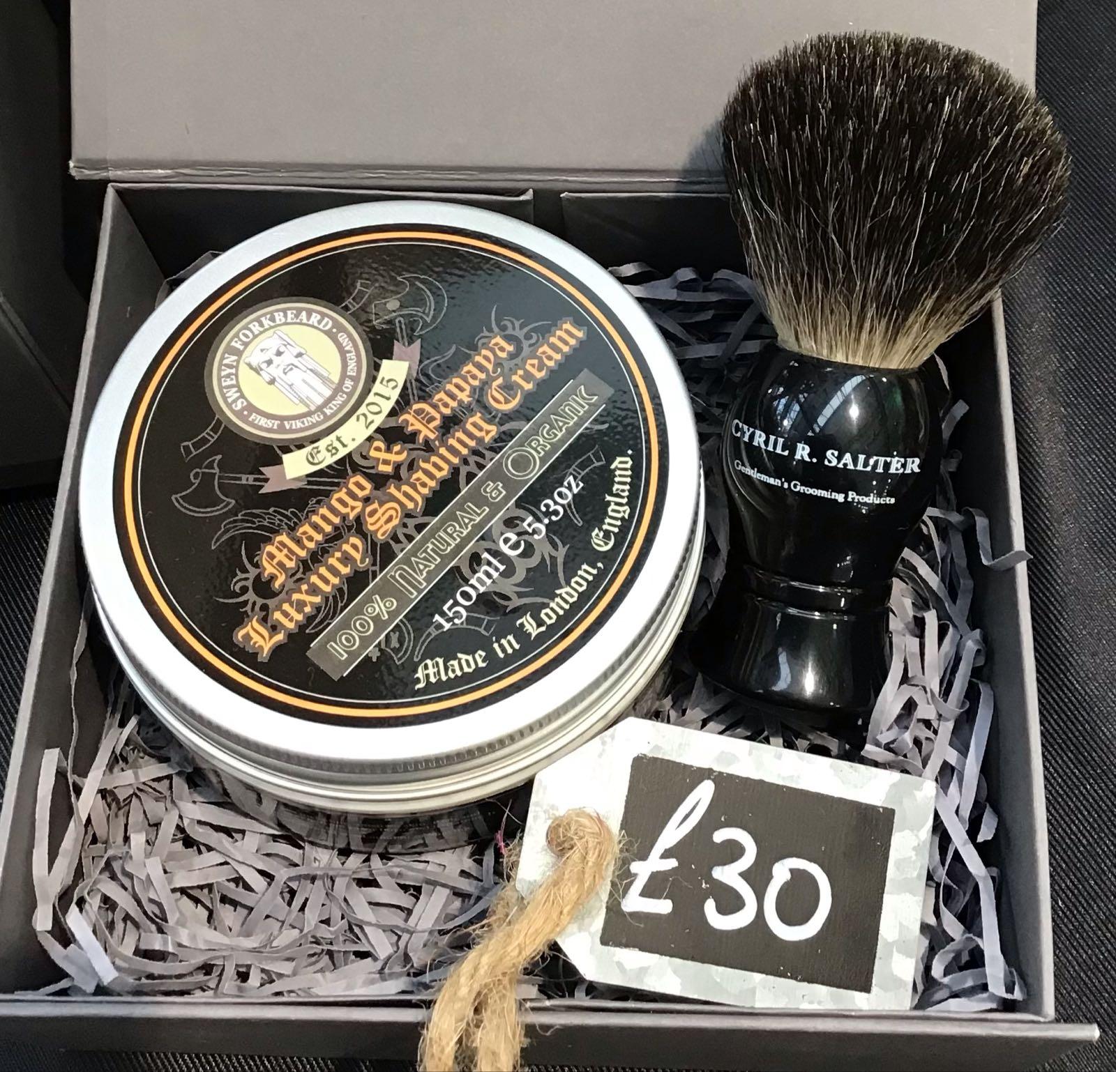 Shaving brush & cream gift box