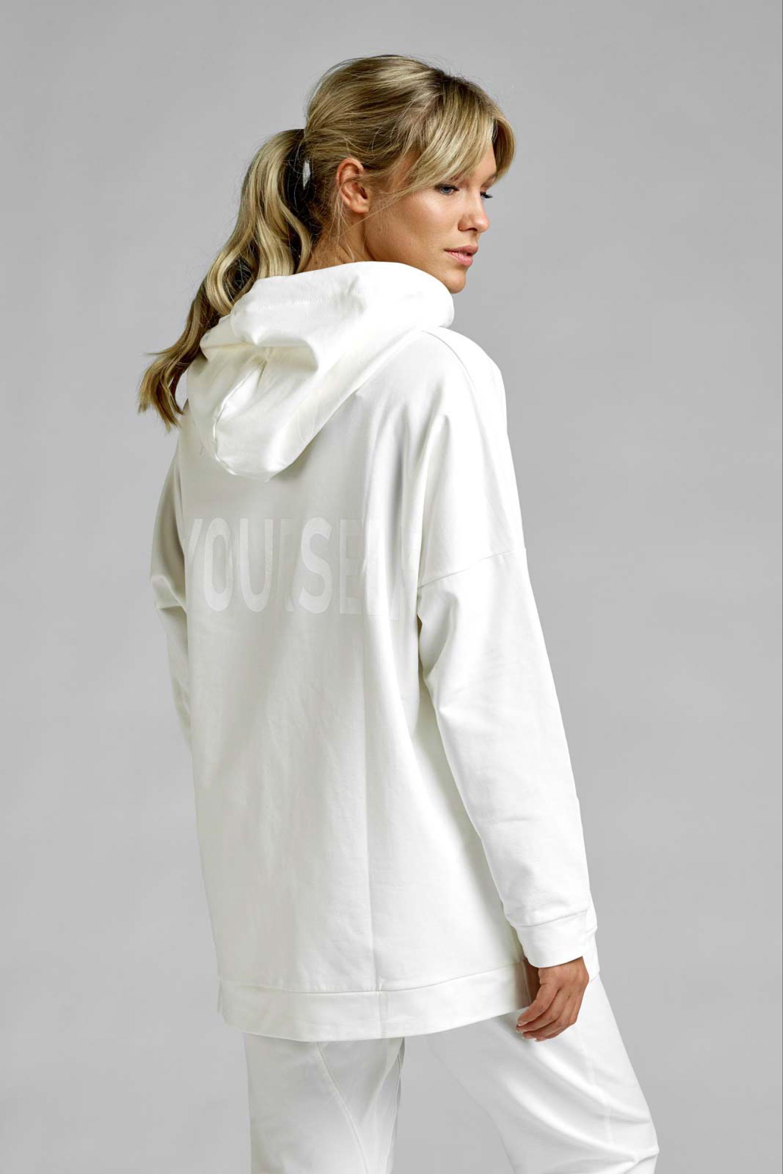 AJLAJK lång hoodie, vit