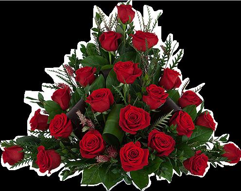 Båredekorasjon i røde roser