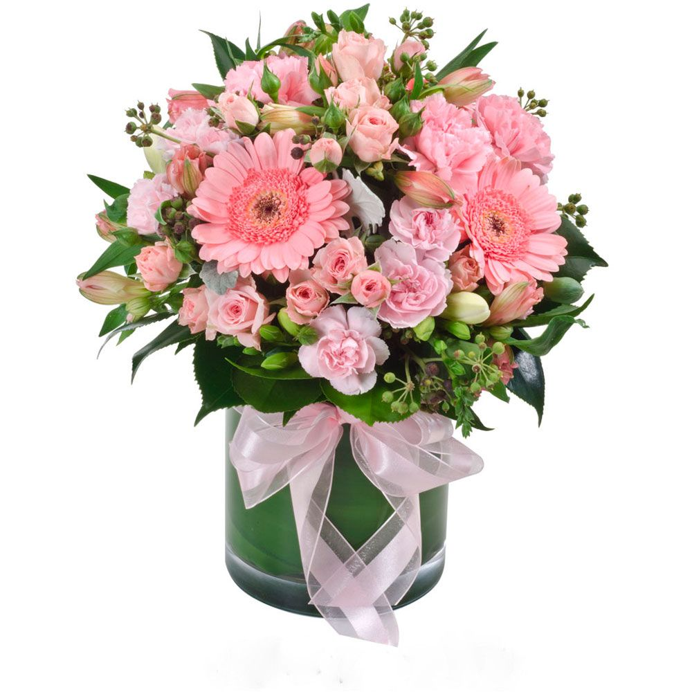 Dekorasjon i glass i rosa toner