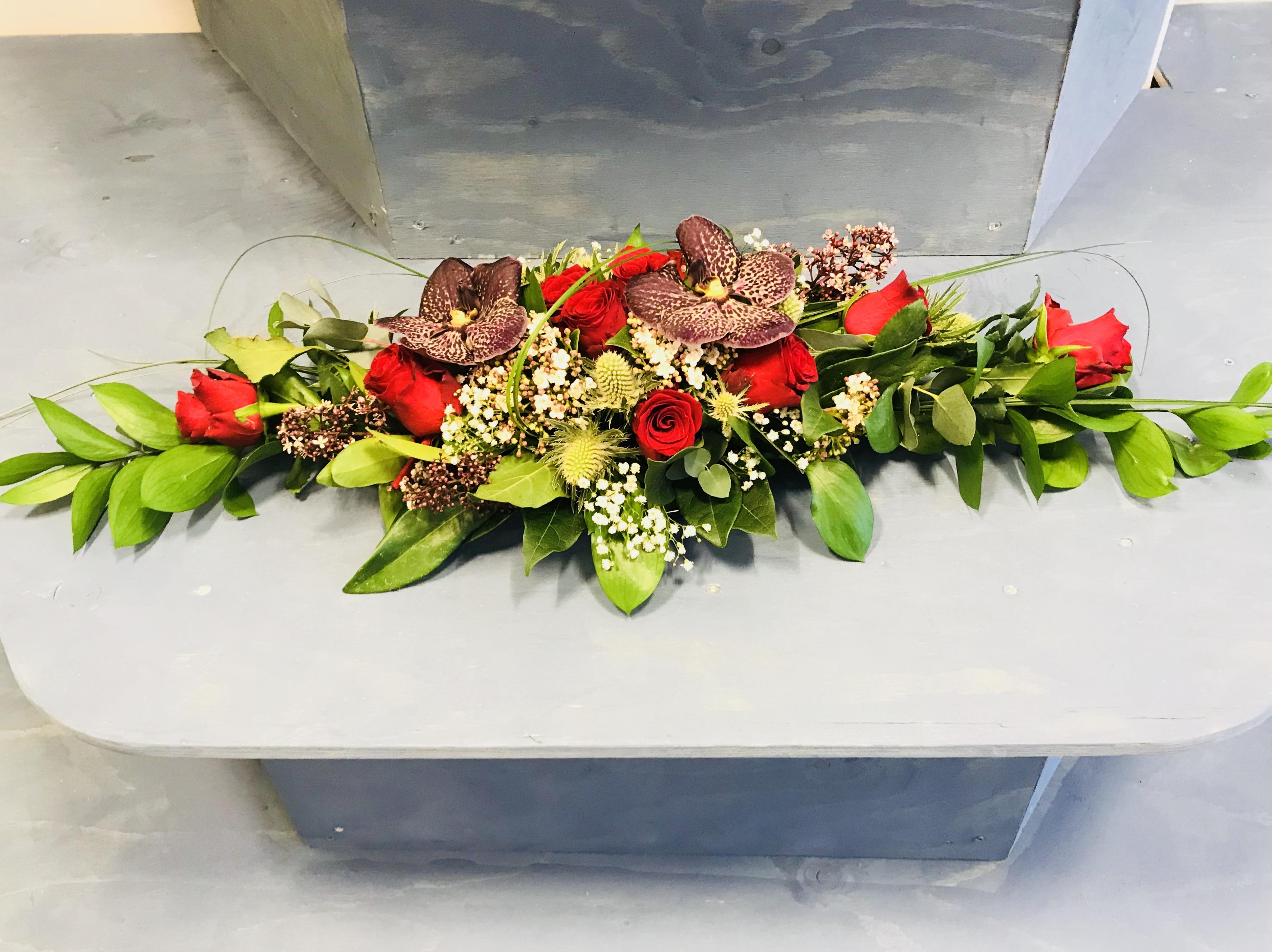 Avlang dekorasjon m/ekslusive orkideér