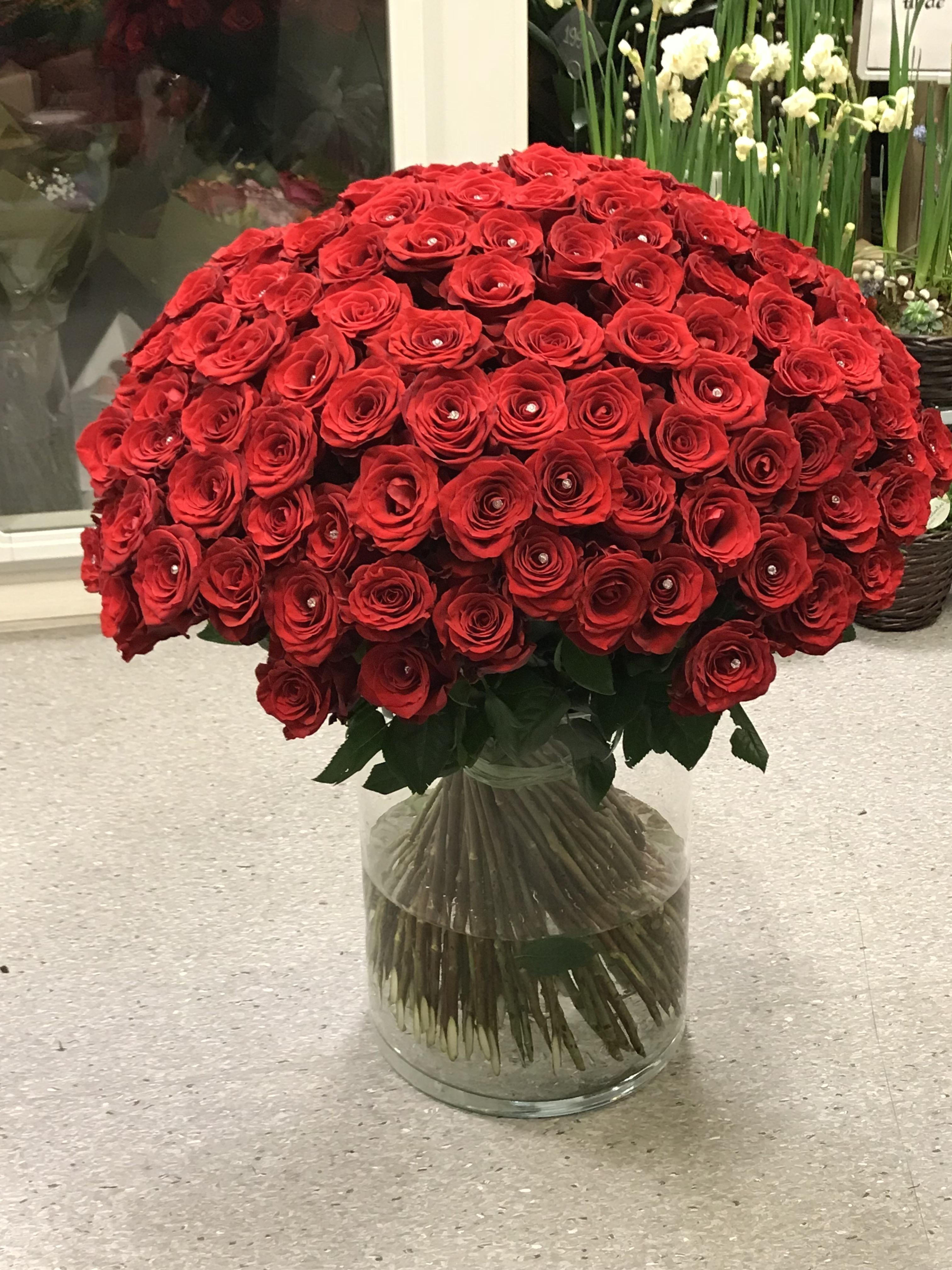 Klassisk røde roser 100-150stk