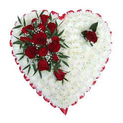 Hjerte i hvitt og rødt