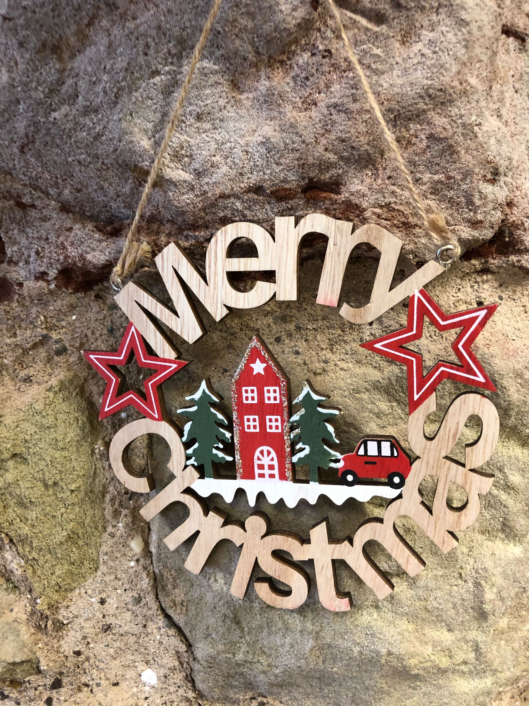 Alpine merry Christmas wreath sign  15cm