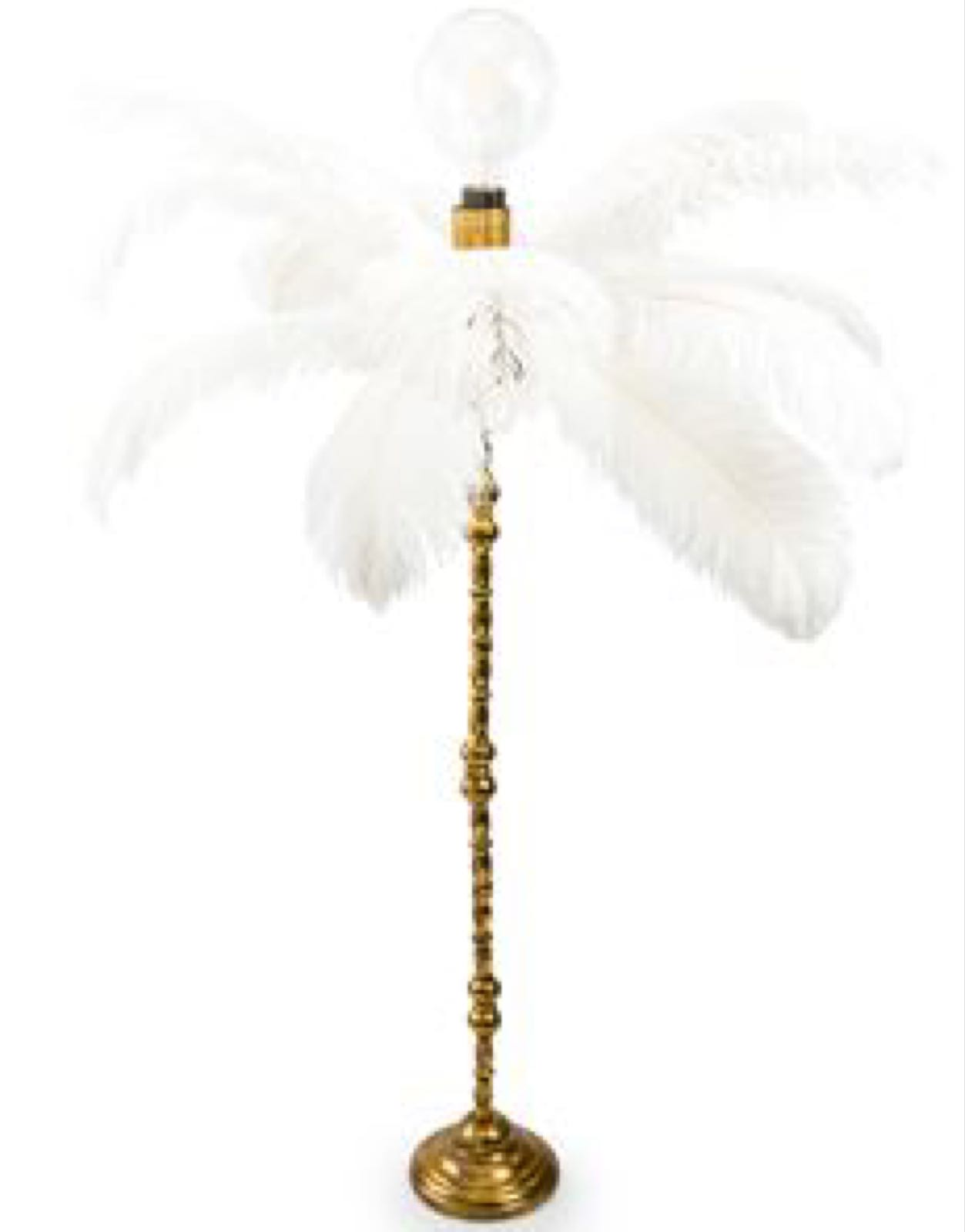 Large white ostrich feather table lamp on a silver base (HKL39)