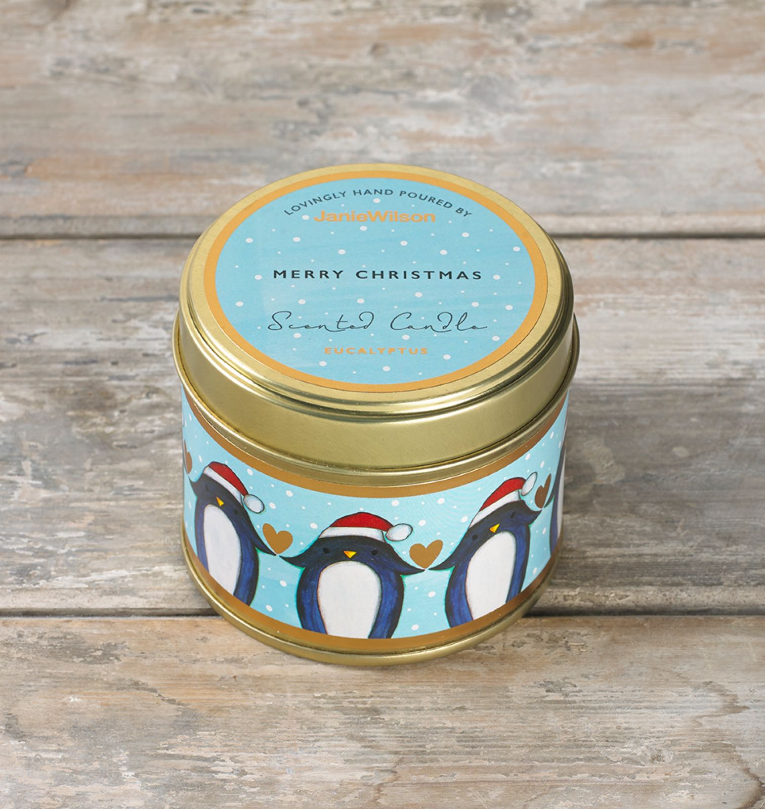 Janie wilson Merry Christmas fragranced eucalyptus large tinned candle  (matching card available )