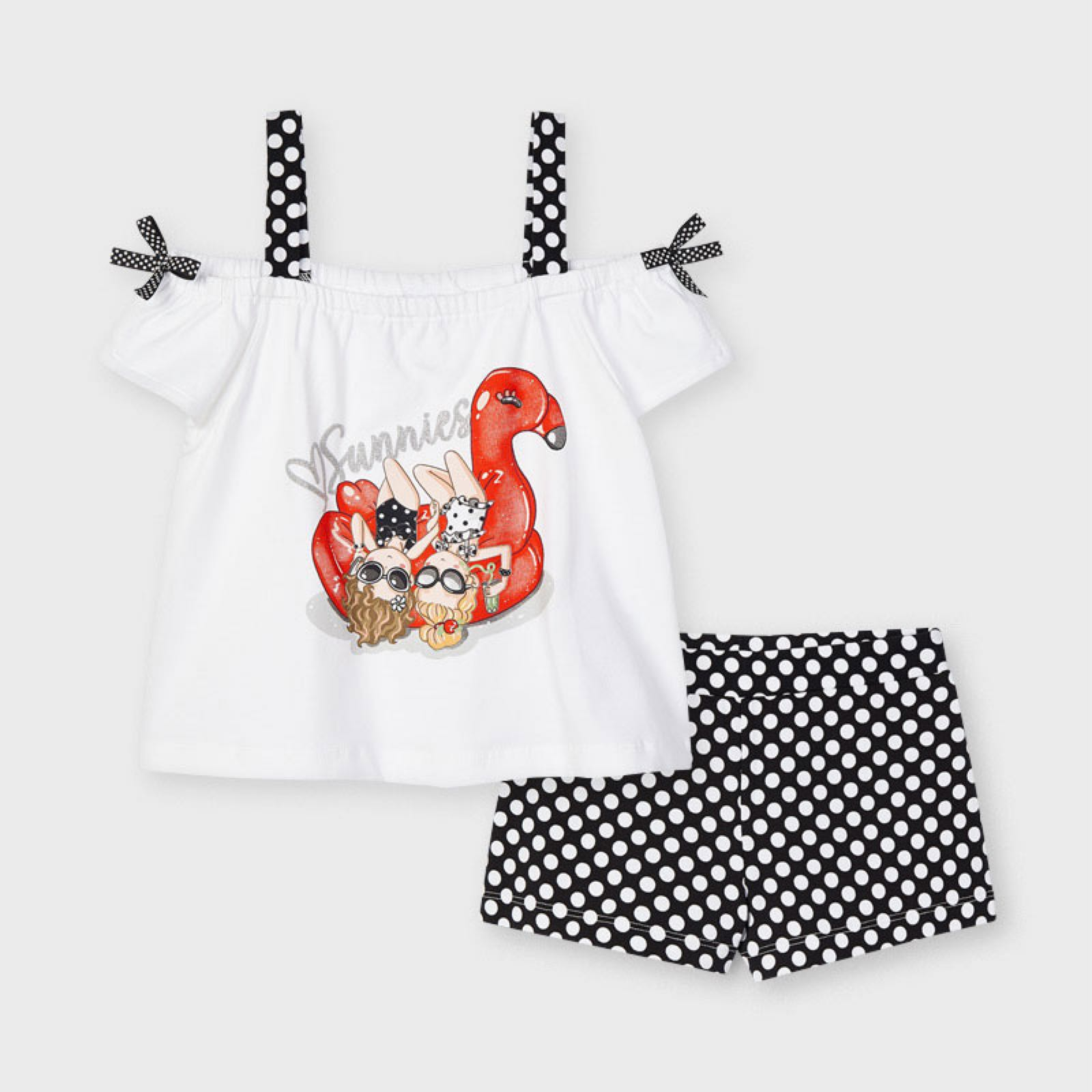 MAYORAL GIRLS Dotty Shorts with T-shirt Set 3213-53