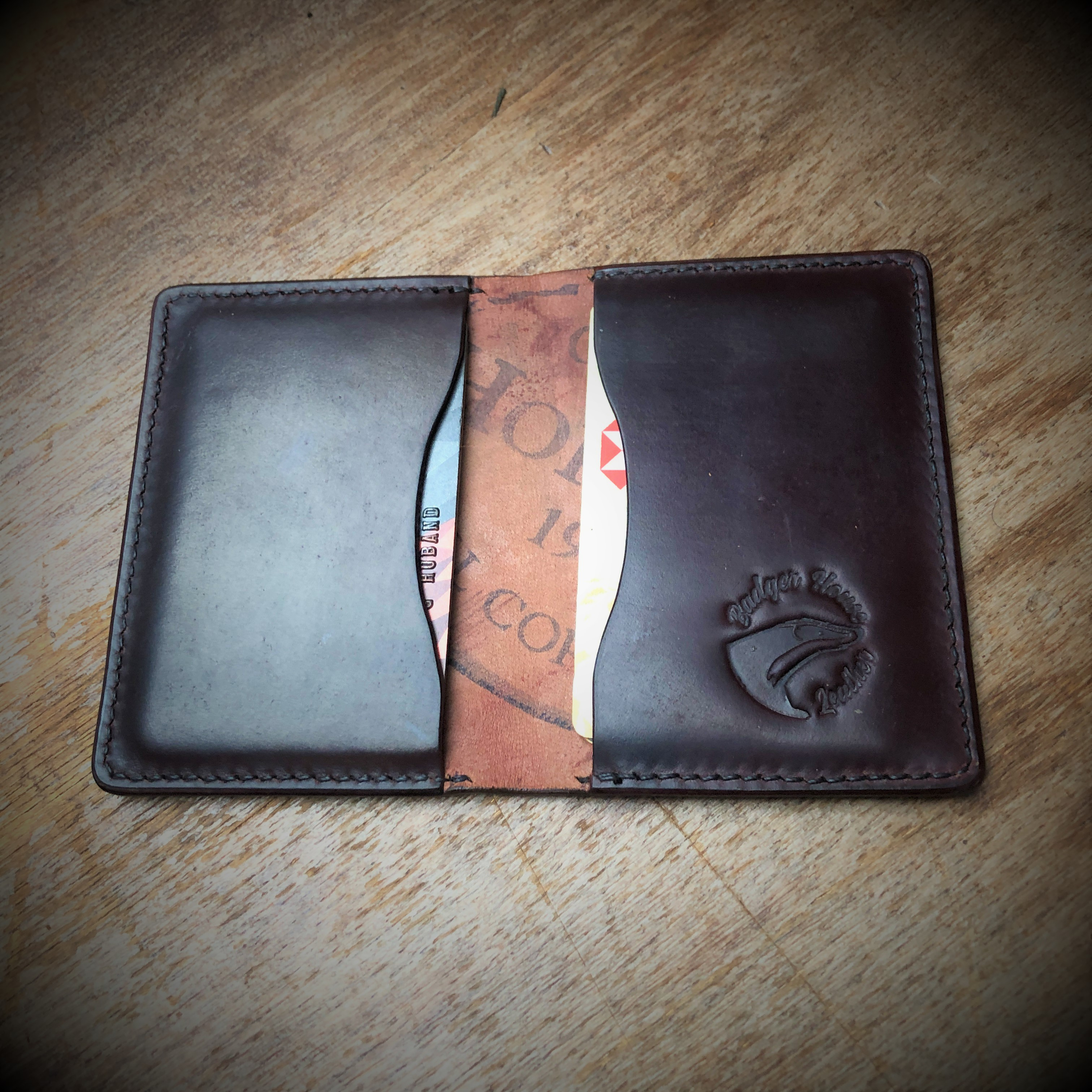Shell cordovan bi-fold wallet