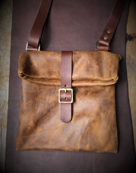 Leather roll top shoulder bag