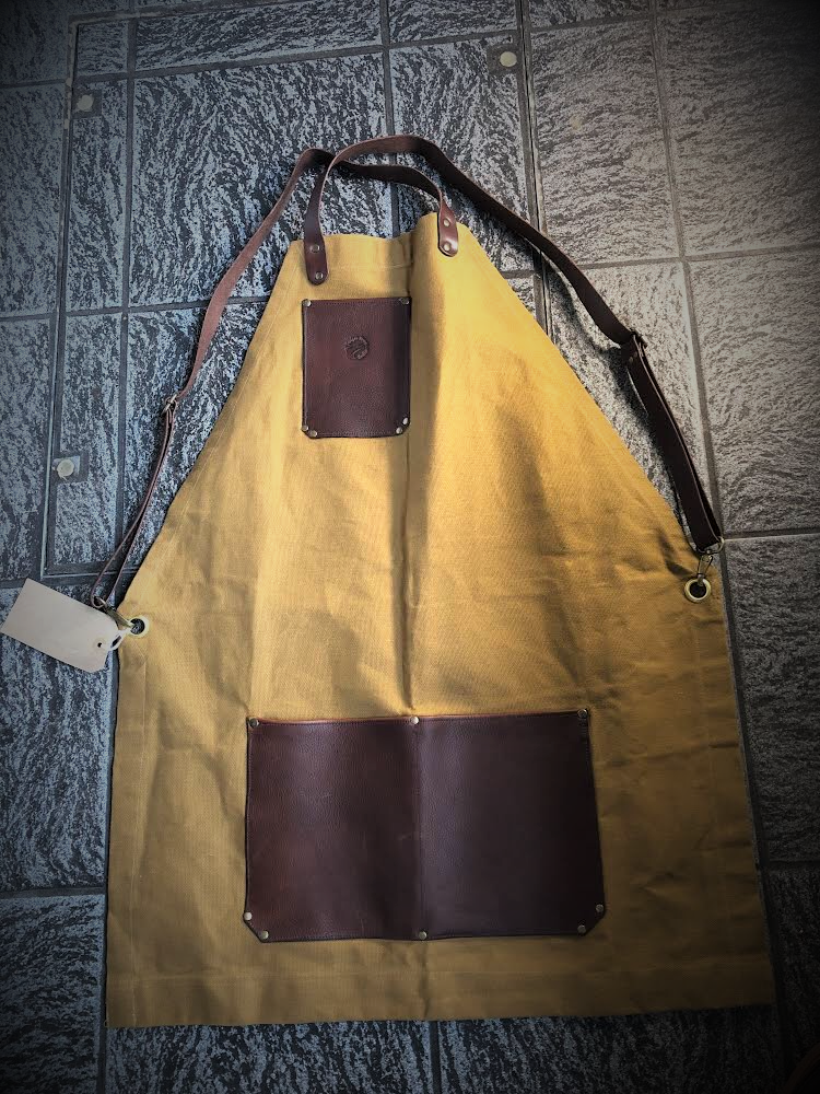 Waxed canvas and leather apron