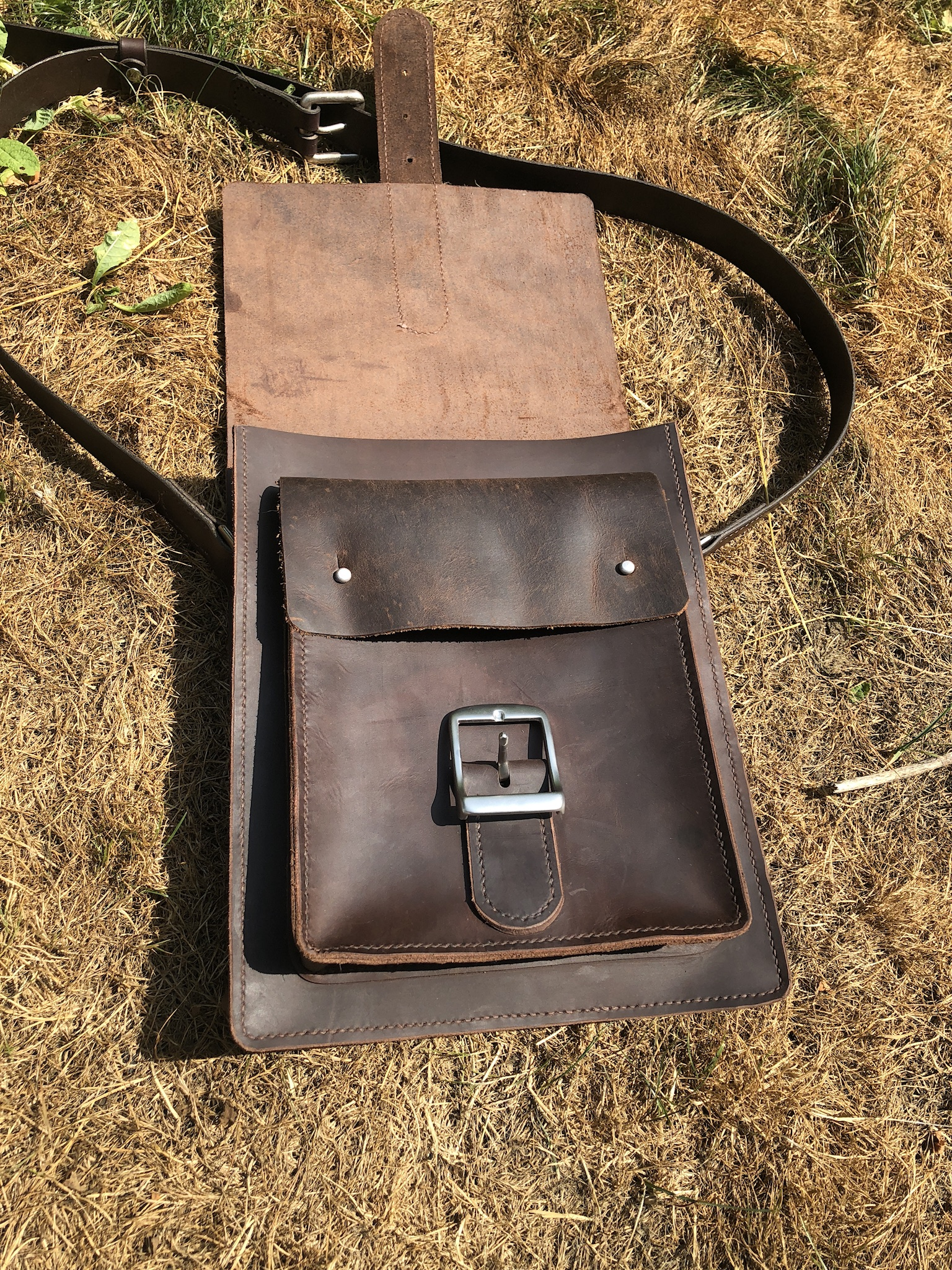 Leather laptop satchel - vertical