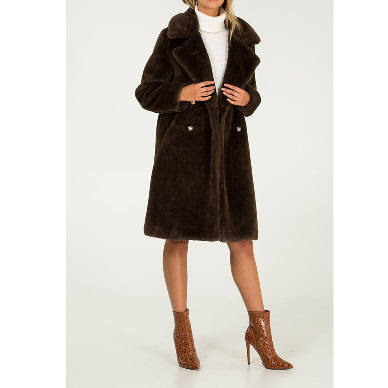 Chocolate faux fur coat