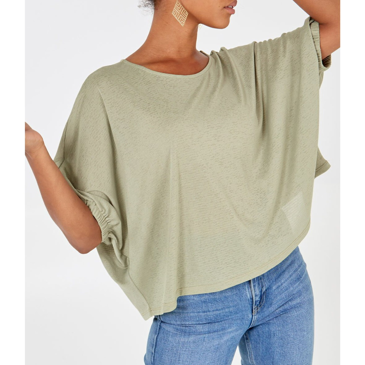 Light Khaki 3/4 Sleeve Crew Neck Top