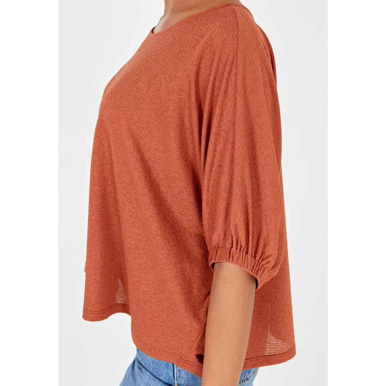 Orange 3/4 Sleeve Crew Neck Top