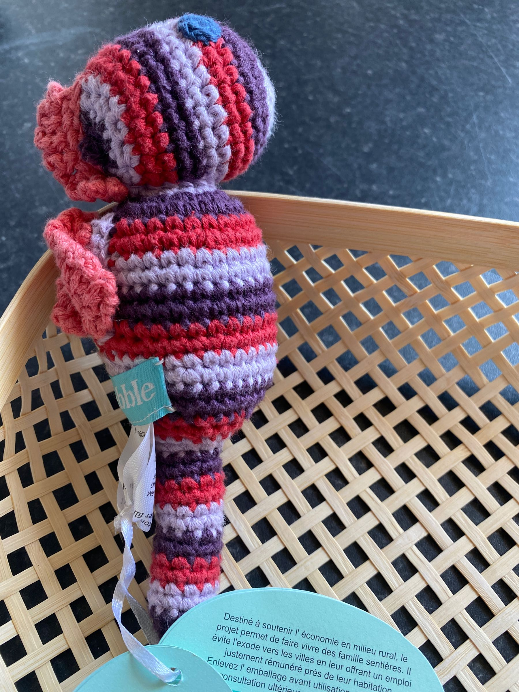 Pebble - Seahorse rattle red