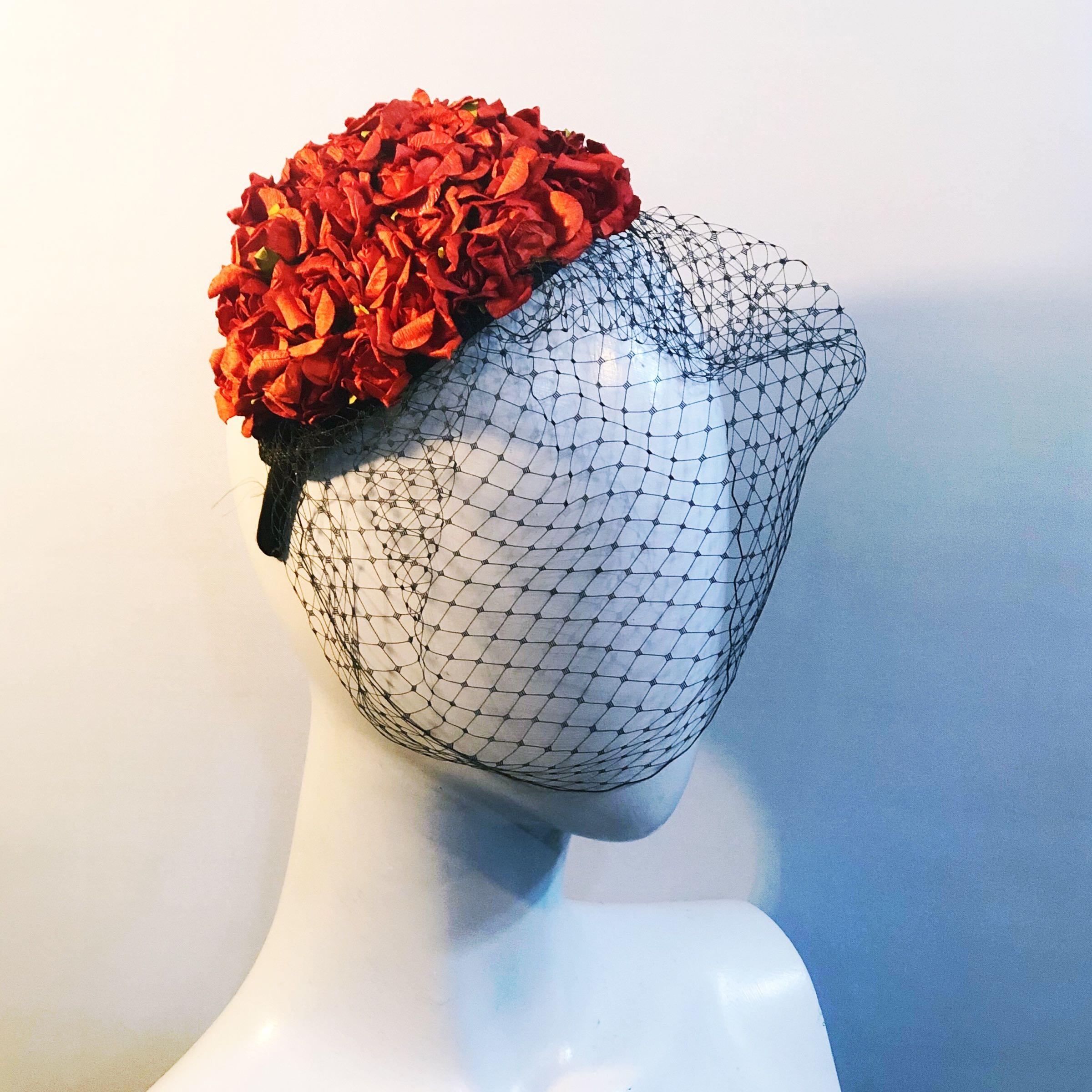 Red rosebud Headband.