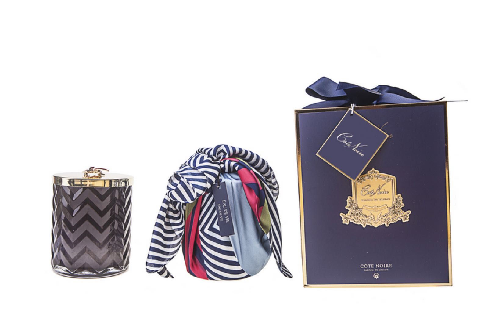 Cote Noire Black Herringbone Fragranced Candle with Red Bee detail on Lid Includes a Beautiful Scarf and Gift box