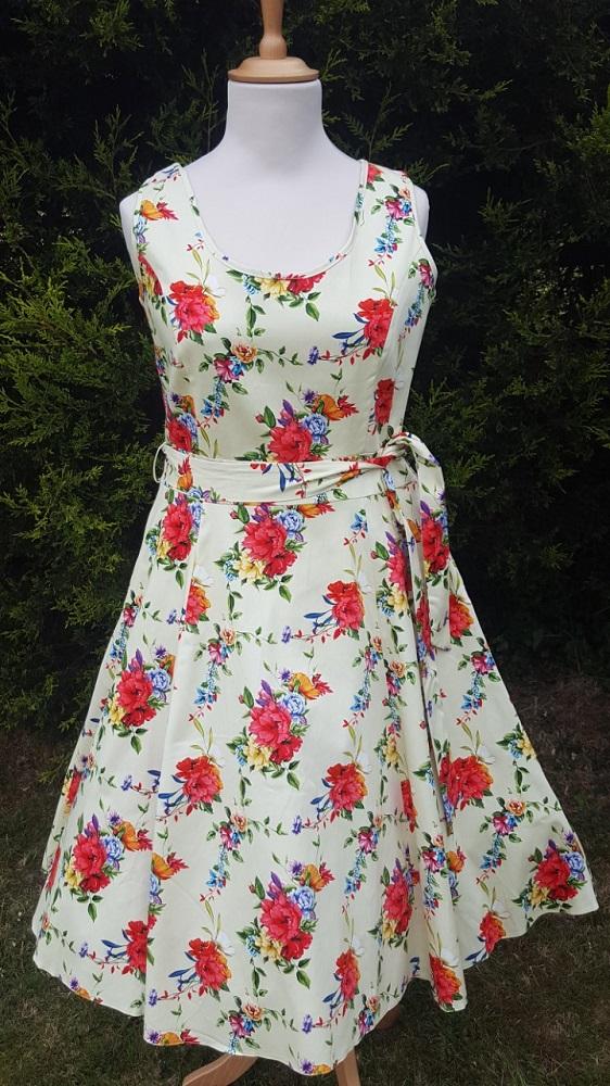 Blossoming Poppy Cream 1950s Style Charlotte Dress 16 18 20
