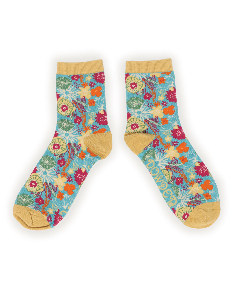 Powder Ankle Socks Floral Turquoise