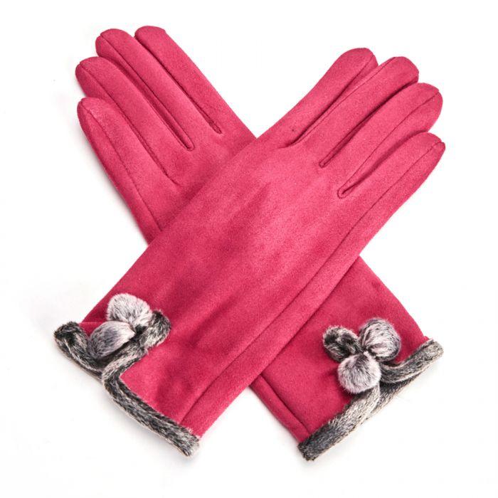Vintage Gloves Pom Pom Hot Pink