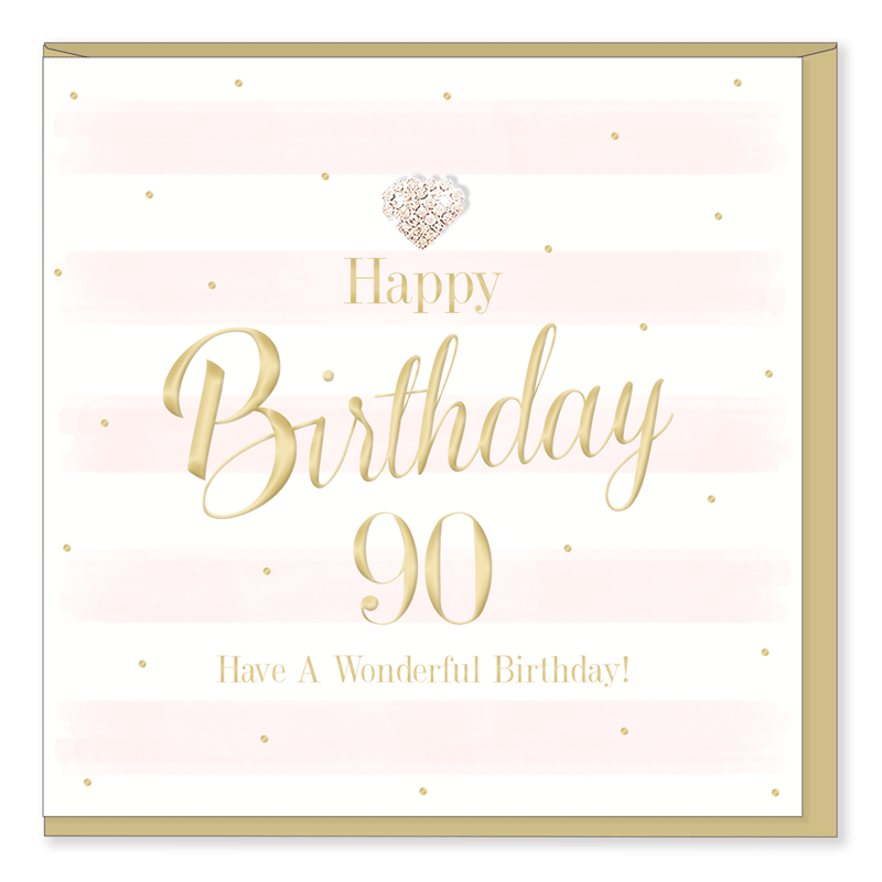 Hearts Designs 90 Happy Birthday Card