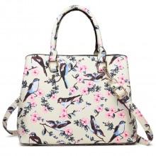 Bird Floral Handbag Cream