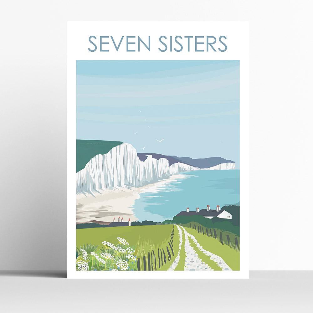 Seven Sisters South Downs A4 Print Framed