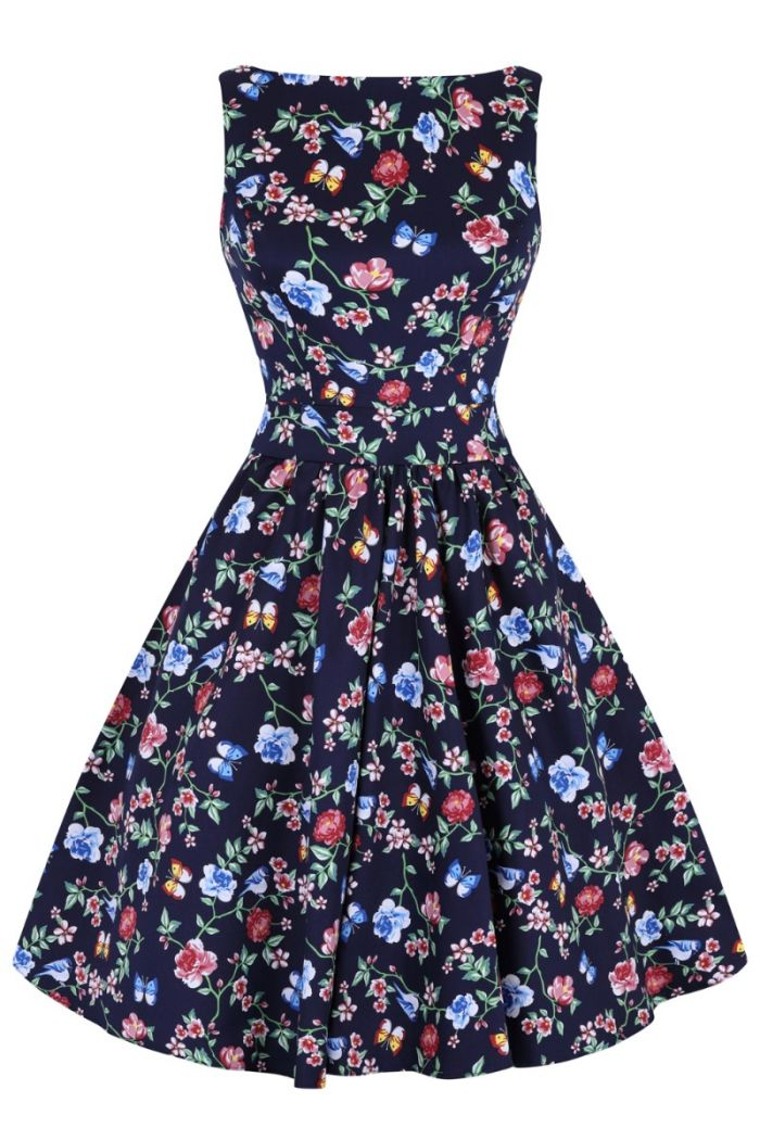 Secret Garden Navy Blue 1950s Style Tea Dress
