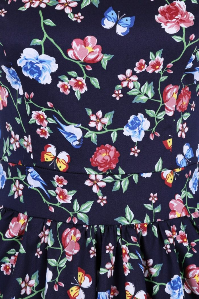 Secret Garden Navy Blue 1950s Style Tea Dress 22