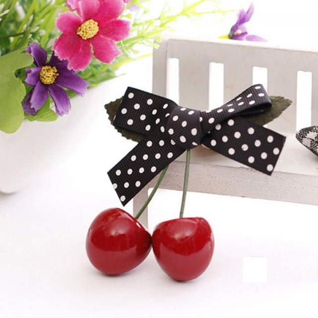 Vintage Cherry Bow Hairclip Black Dot NBC