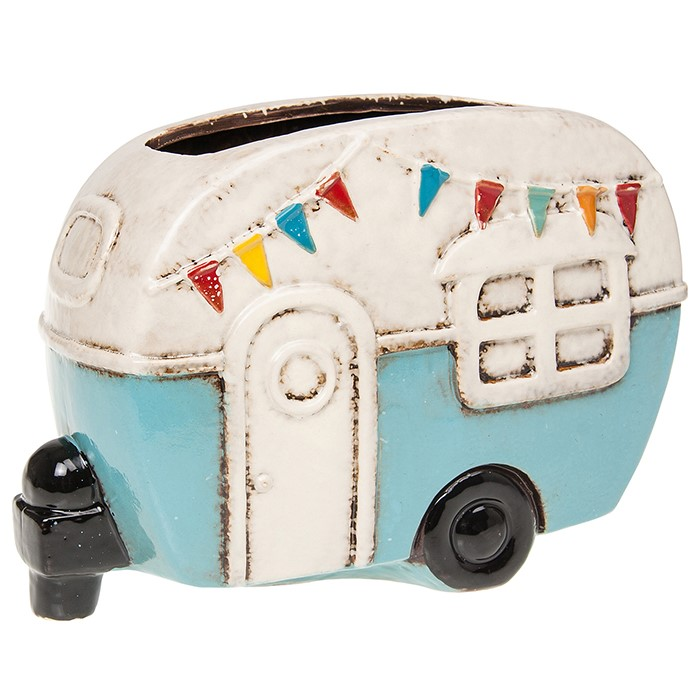 Ceramic Retro Caravan Planter Blue