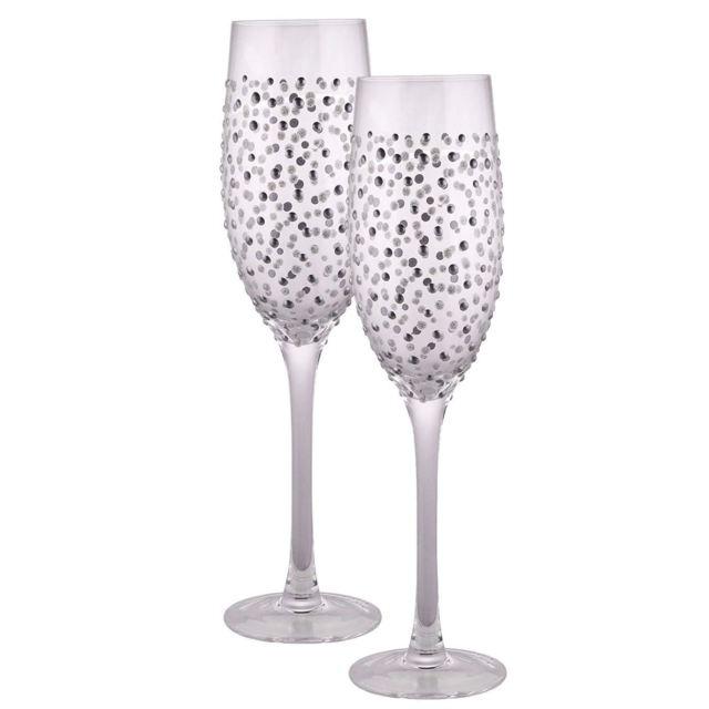 Champagne Flute Set Silver Dot