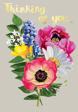 Bright Floral Thinking Of You Card