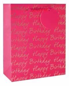 Gift Bag Large Pink Happy Birthday
