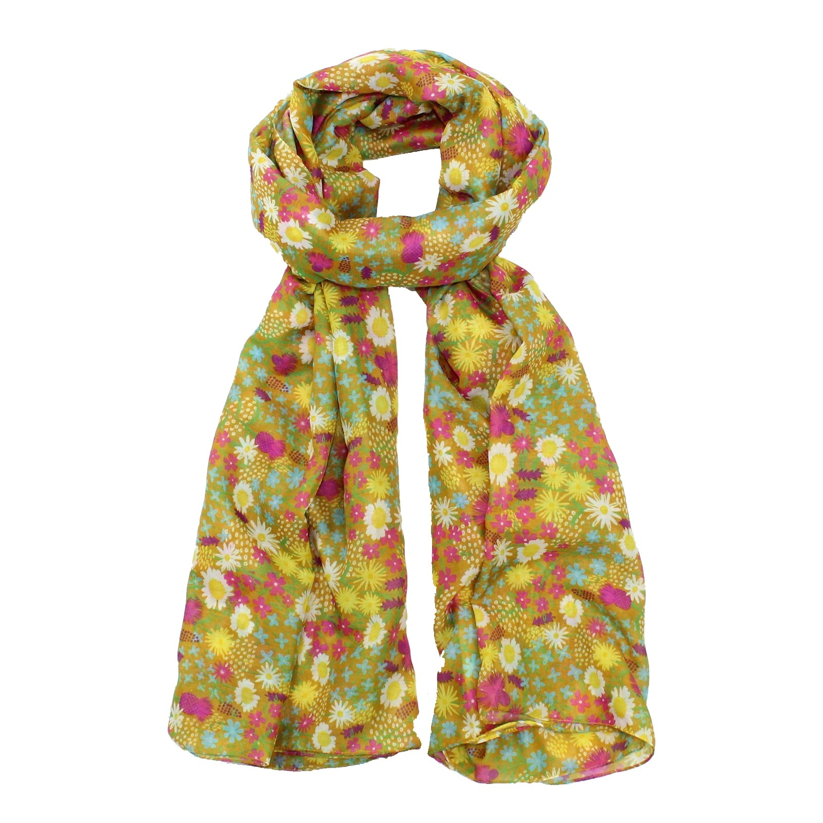 Wild Flowers Scarf Yellow SALE HALF PRICE