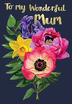 Bright Floral To My Wonderful Mum Card