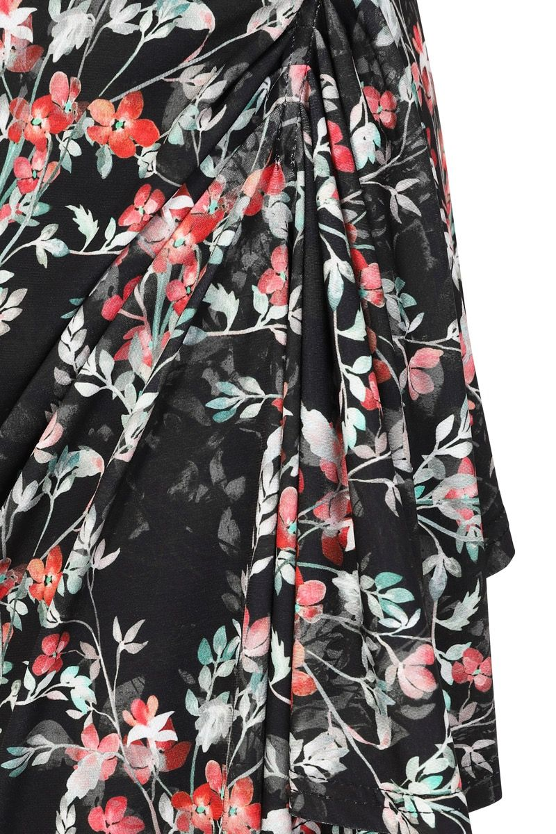 Black Floral Stretch 1950s Style Elsie Wiggle Dress 10