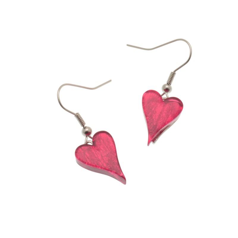 Pink Resin Heart Earrings