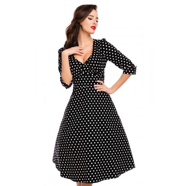 Kate Black Polka Dot 1950s Style Dress Size 12