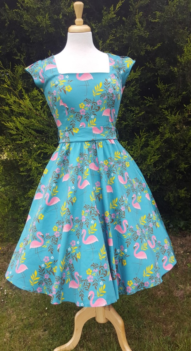 Tropical Flamingos Turquoise 1950s Style Swing Dress 10
