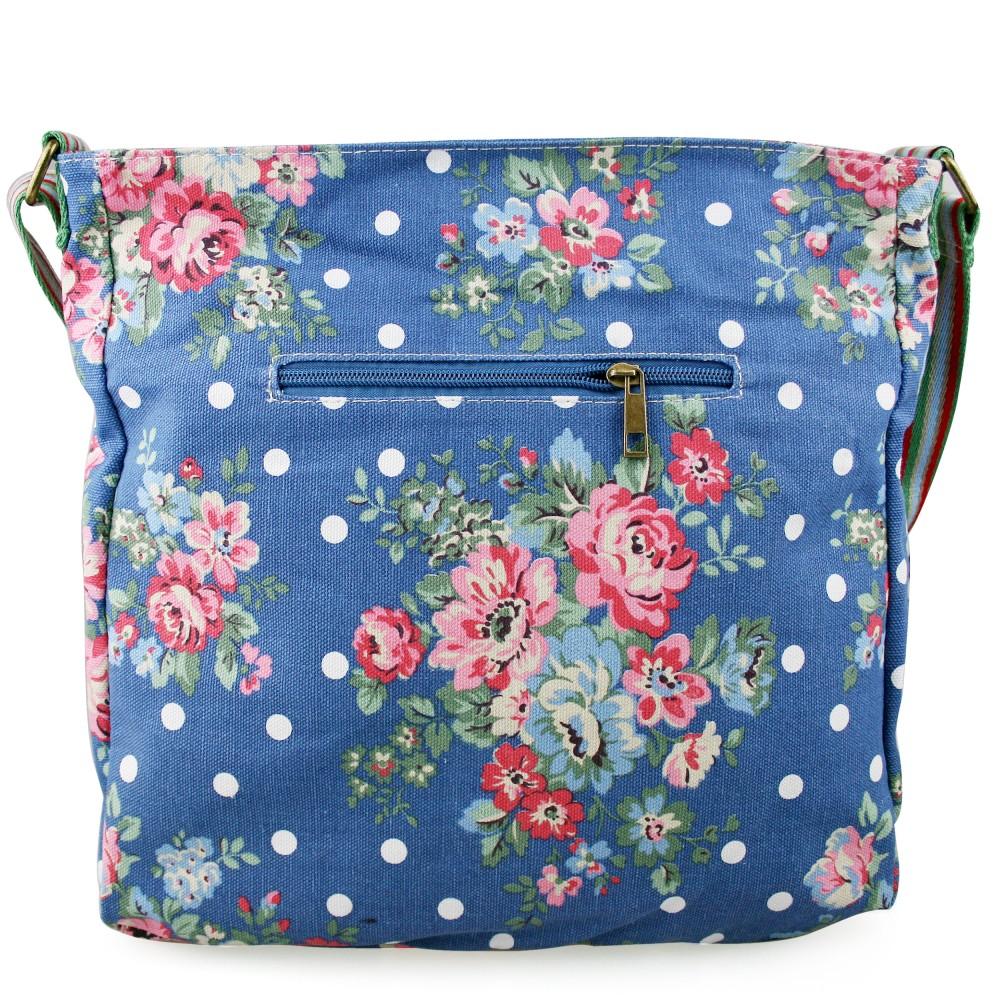 Floral Canvas Crossbody Bag Navy Blue