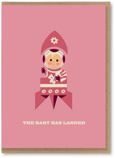 Baby Girl Has Landed Card