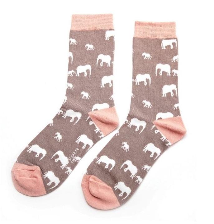 Bamboo Socks Elephants Grey