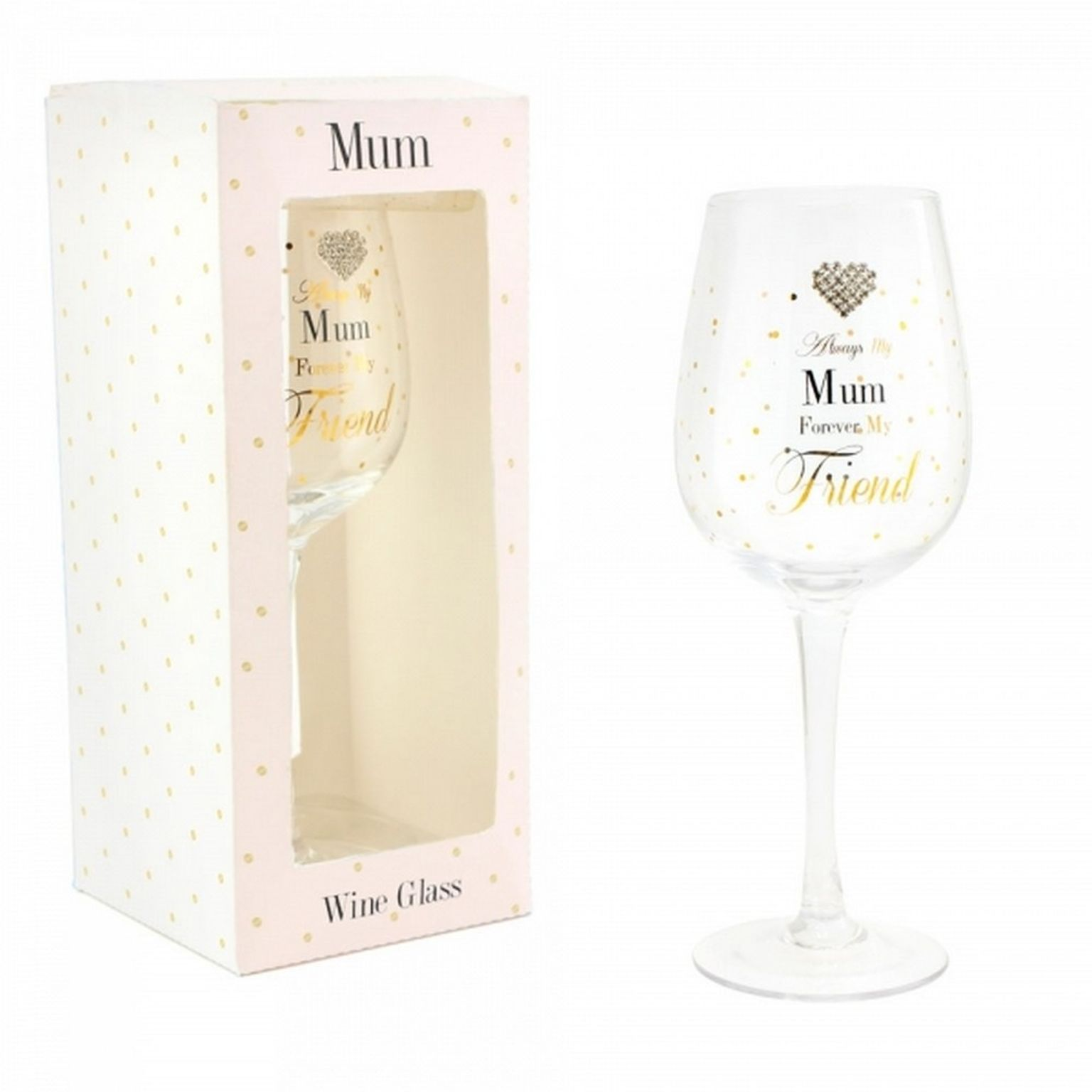Hearts Designs Wine Glass Mum