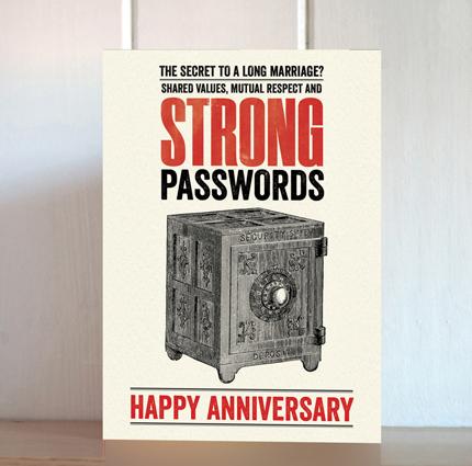 Modern Life Strong Passwords Anniversary Card