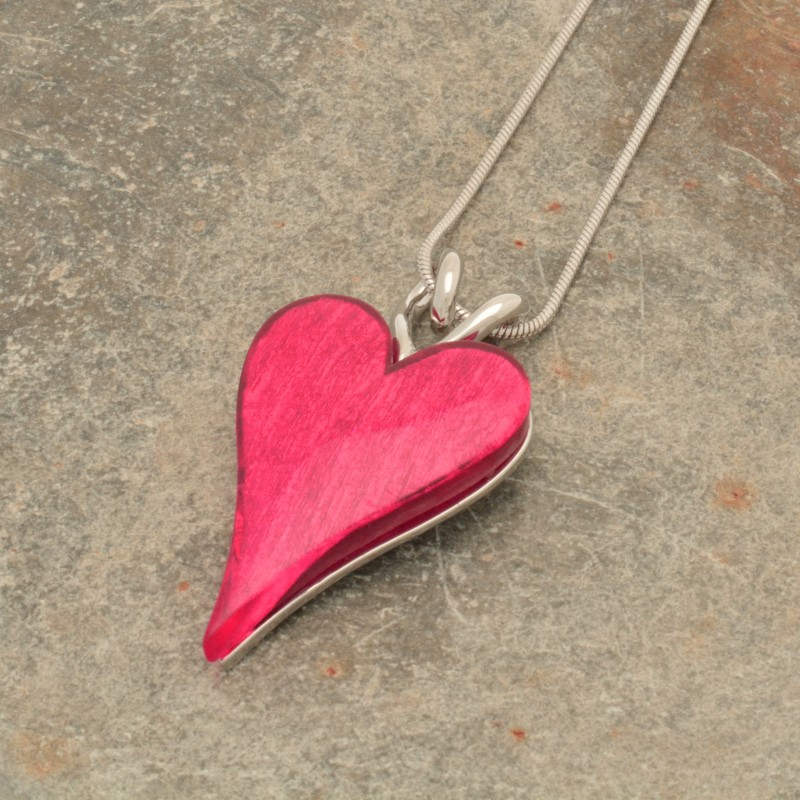 Pink Resin Heart Necklace